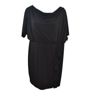 Jessica Howard Ruffled Draped Dress Black 22W New